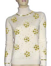 LUXE OH `DOR® 100% Cashmere Pullover Luxus Schneeflocken perlweiß gold 46/48 L