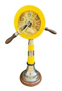 "Nautical 18"" Marine Ship Engine Room Telegraph In yellow Powder Coated | Antique"