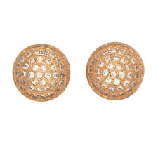 Mens Round Domed Studs 10mm Cz Hip Hop Bling 14k Gold Plated Screw On Earrings