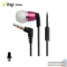 iFrogz Spectra Headphones Earphones Nylon Cable w/ MIC for Android iPhone PINK