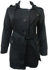 LADIES PLUS SIZE BLACK BELTED HOODED COAT MILITARY WINTER JACKET 16 18 20 22 NEW
