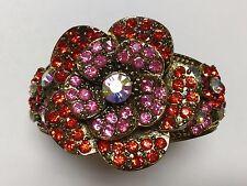 BEAUTIFUL DESIGNER STYLE RED RHINESTONE FLOWER BRACELET STATEMENT PIECE BR22