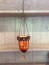 Moroccan Hanging Tea Light Candle Holder Orange Butterfly Glass Metal