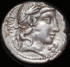Ancient Rome (Republic)  90 B.C. C. Vibius Pansa Silver Denarius Minerva in quad