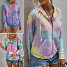 Women Tie-dye Long Sleeve Sweatshirt Ladies Zip Hoodie Casual Jumper Coat Jacket
