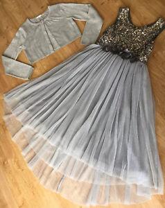 Girls Next Signature Party Dress & Cardigan, Silver, Age 9-10 VGC