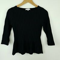 Veronica Maine Women's Top Black Fitted 3/4 Sleeve Knit Size S