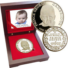 Prince George 2014 Birthday Coin 1oz Gold Layered Limited 300 Sets COA Rose Box