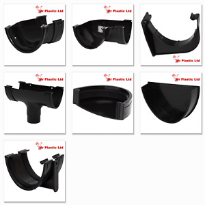 Polypipe 117mm Polyflow Deep Flow Gutter & 68mm Round Downpipe Fittings in Black