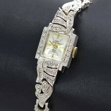 Vintage 14k White Gold .50cttw Jules Jurgensen Ladies Wrist Watch ca. 1950's