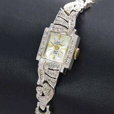 Vintage 14k White Gold .50cttw Jules Jurgensen Ladies Wrist Watch ca. 1950's