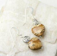 Jasper Brown Natural Gemstone Heart Shape .925 Silver Hook Earrings Celtic Knots