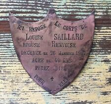 Rare Antique French Bronze Memorial Plaque Dated 1907 ~ Shape of a Shield