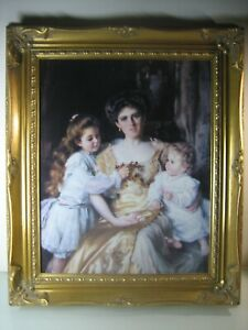 Vintage framed oil painting on board print (65 cm x 55 cm)