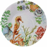 "Summer Coastal Melamine 10.5"" Dinner Plates Set of 4 Seahorse Shells Sealife New"