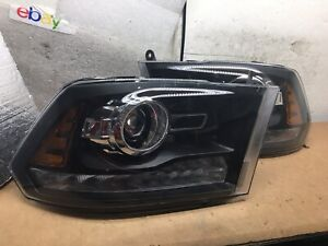 2009-2018 Dodge Ram Black Projector LED Signal DRL Halogen Headlight Pair #H234
