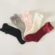 BABY and toddlers KNEE high socks with bows on the side 5 colours (58)