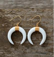Boho Large White Double Horn Dangle Drop Gold Earrings Crescent Moon Hook