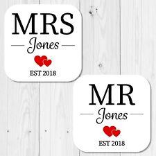 Personalised Mr Mrs Set of 2 Coasters Wedding Birthday Anniversary Gift