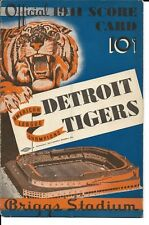 1941 Detroit Tigers-Red Sox Program/Scorecard Williams Homers Sox Win NICE!!