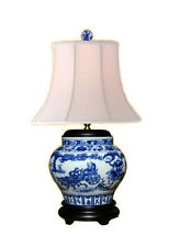 """Chinese Blue and White Porcelain Round Vase Immortal on Chariot Table Lamp 23.5"""""""