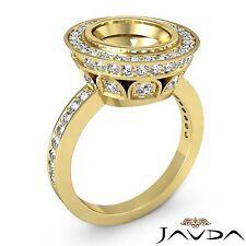 Diamond Engagement Oval Semi Mount Halo Pave Bezel Ring 18k Yellow Gold 1.25Ct