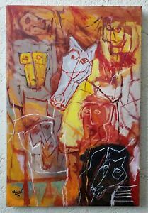 ALEJANDRO SANTIAGO, Great painting oil on canvas, signed.