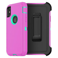 For iPhone XS MAX X 8 7 6S Plus 6 Case Cover {Belt Clip fits Otterbox Defender}