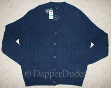 NWT! CLUB ROOM Lambswool Ribbed Cardigan Sweater-Men's L-Heather Blue