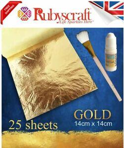 25 sheets Gold leaf kit - 14x14cm 15ml Adhesive & Brush Gilding Crafts Arts