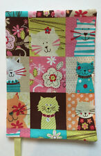 FABRIC Paperback Book Cover Standard Paperback Book Cats and Flowers