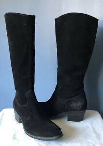 MATISSE Gunslinger Tall Black Suede Leather Western Cowboy Boots Women Size 8.5M