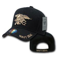Black United States US Navy Seals Trident Seal Military Baseball Ball Cap Hat