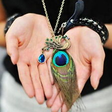 Women Charm Retro Peacock Feather Pendant Long Chain Vintage Sweater Necklace AS