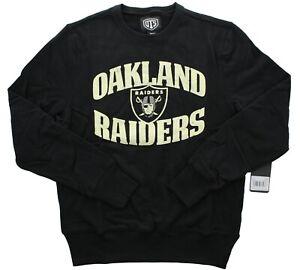 OTS NFL Oakland Raiders Men's Sweatshirt Distressed Fleece Crew Neck Pullover S