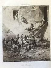 La Provende Poules Charles Emile JACQUE 1813-1894 Hélio  Georges Petit Barbizon