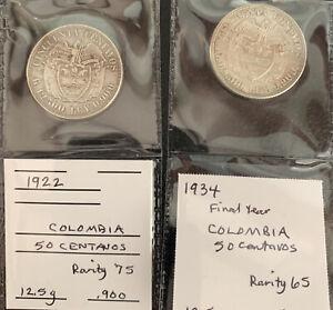 Columbia 1922 & 1924 50 Centavos / 25 Gr. .900 Silver  & *No Reserve!