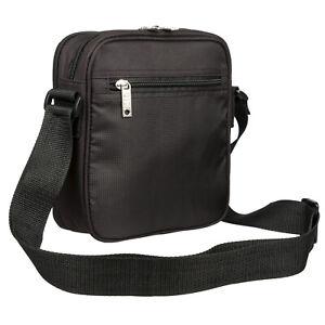 Mens Black Adjustable Shoulder Messenger Bag TRAVEL WORK CASUAL LEISURE / 205