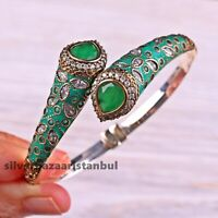 Turkish 925 Sterling Silver Green White Zircon Ladies Womans Bracelet Bangle