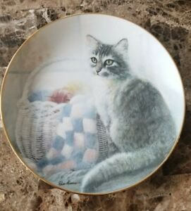 Danbury Mint Kitten Cousins Collector Plate Ruane Manning Cat with Sewing Basket