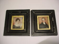 GEORGIAN Hand Painted Pair MINIATURE PORTRAIT by JOHN TURMEAU, FRAMED.