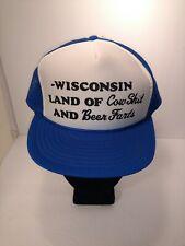 Trucker Hat Cap Wisconsin Land of Cow **** and Beer Farts Nissin Humor