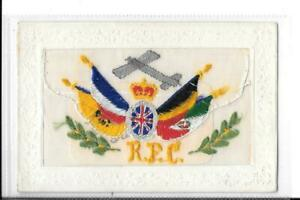 WW1 Silk Embroidered Postcard RFC Envelope & Insert Card 'Hearty Greetings'