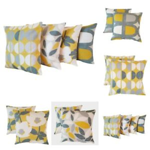 Set of 4 Cushion Covers Saffron Yellow Mustard Grey Geometric Floral Design