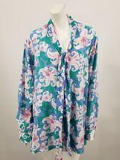 29f971f7b7755 New Bob Mackie Silk Blouse 3X Floral Print Button Up Plus Neck Tie
