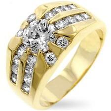 18K GOLD EP  MENS RISING SUN DIAMOND SIMULATED DRESS RING sz 13 or Z 3/4