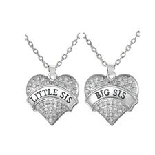 Big Sistter Little Sis Necklace Big Clear Stone Heart Pendant Family Love Gift