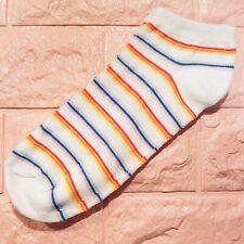 Fashion Novelty Socks Ankle White Neon Rainbow Striped Women's 4-10 USA Seller