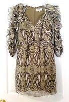 TIBI womens size 0 green gray abstract print ruffled 3/4 sleeve 100% silk dress