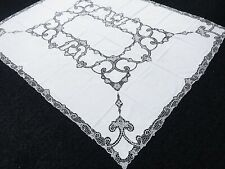 "White 72x90"" Cotton Linen Handmade Embroidered Lace Rectangle Tablecloth Napkins"